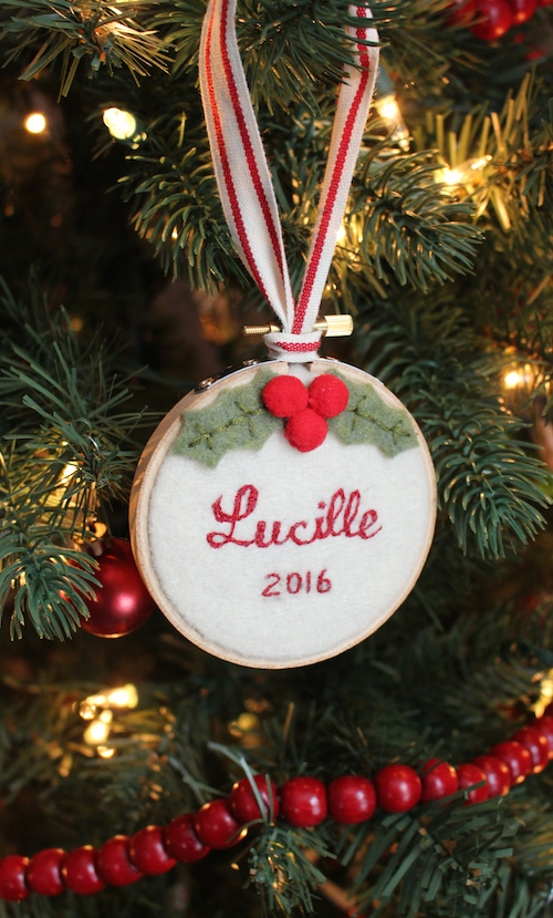 Hand-stitched Baby's First Christmas Ornament