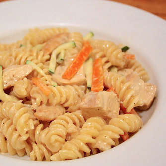 "Chicken Pasta with White Wine Cream Sauce aka ""Adult Mac Cheese"""