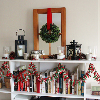 Fabric Scrap Garland and our Christmas Mantel 2012