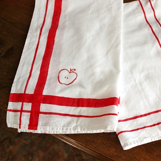 Hand Painted Vintage Striped Linen Tea Towels