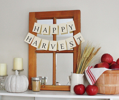Fall Bookcase Mantel 2013 {Happy Harvest}