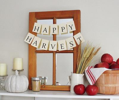 Fall Bookcase Mantel 2013 {Happy Harvest}