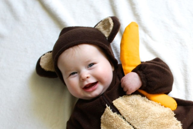 baby monkey costume happy