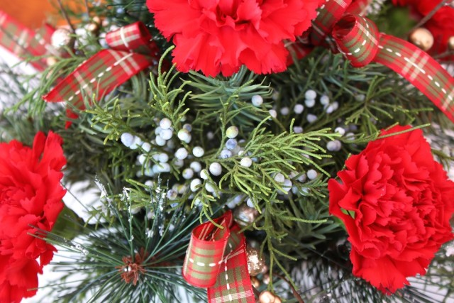 red-carnation-christmas-arrangement-juniper-berries