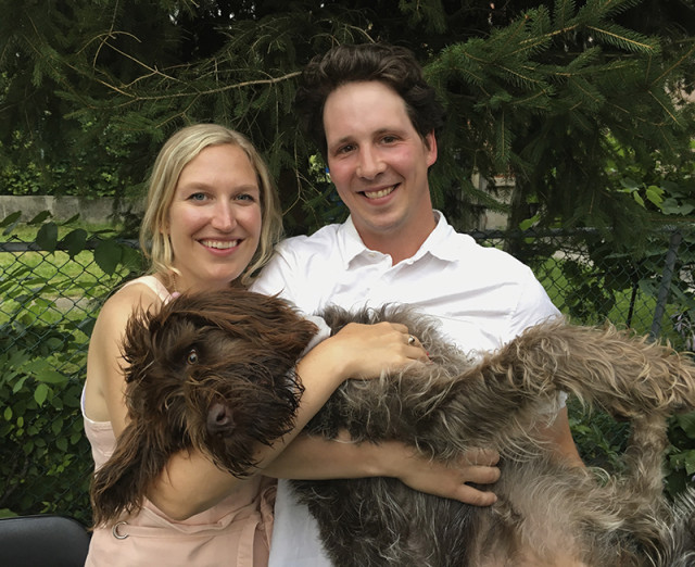 happy-couple-engagement-party-dog