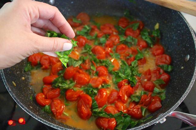 add-basil to cherry-tomato-sauce