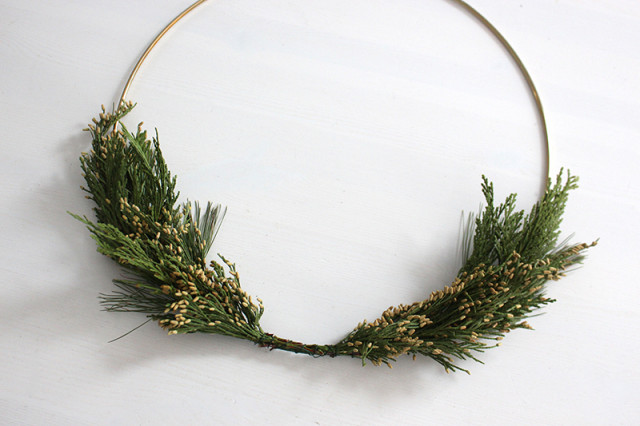 brass-ring-christmas-wreath-greens-added