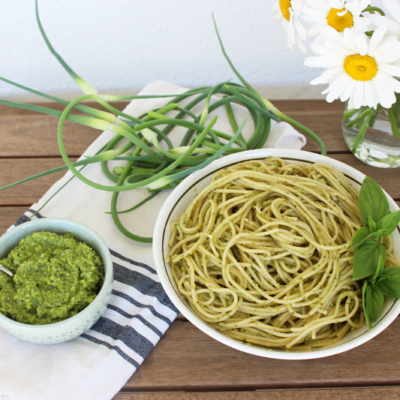Garlic Scape Pesto {Nut Free}