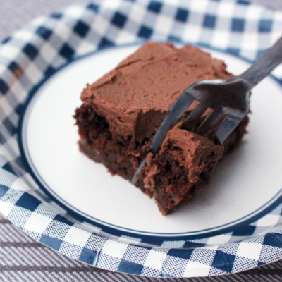 Chocolate Zucchini Sheet Cake with Chocolate Buttercream Frosting