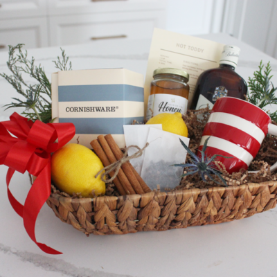 Hot Toddy Gift Basket with Cornishware Mugs