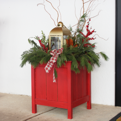 Outdoor Christmas Lantern Planter